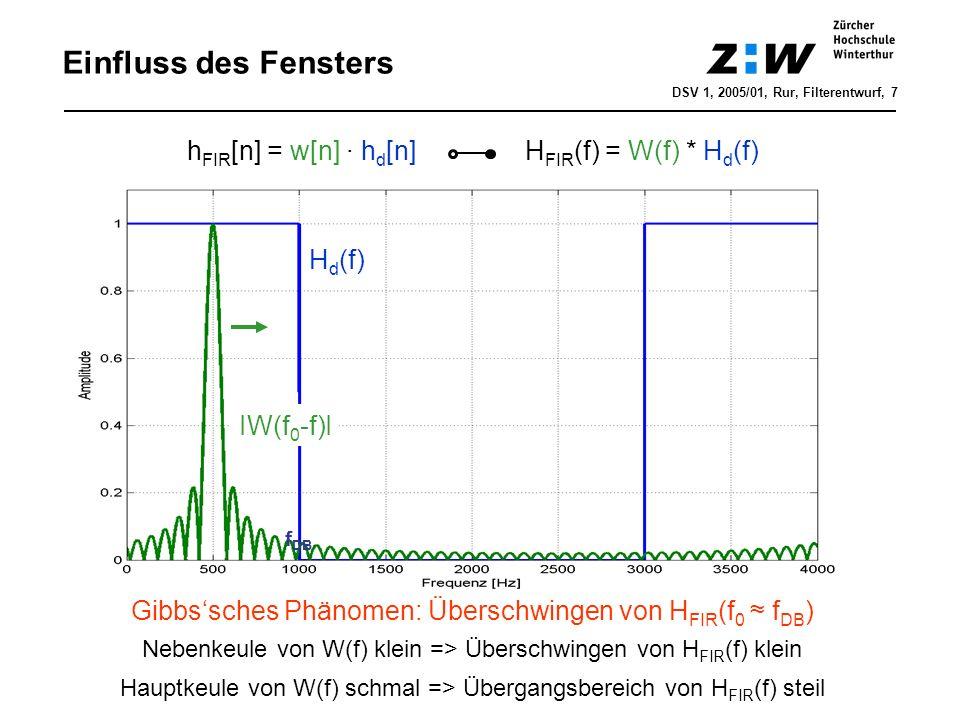 Einfluss des Fensters DSV 1, 2005/01, Rur, Filterentwurf, 7 h FIR [n] = w[n] · h d [n] H FIR (f) = W(f) * H d (f) H d (f) IW(f 0 -f)I Gibbssches Phäno