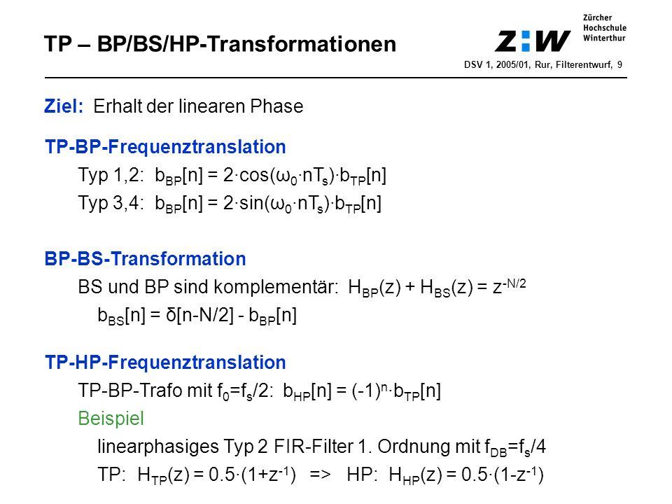 DSV 1, 2005/01, Rur, Filterentwurf, 9 TP – BP/BS/HP-Transformationen Ziel: Erhalt der linearen Phase TP-BP-Frequenztranslation Typ 1,2: b BP [n] = 2·c