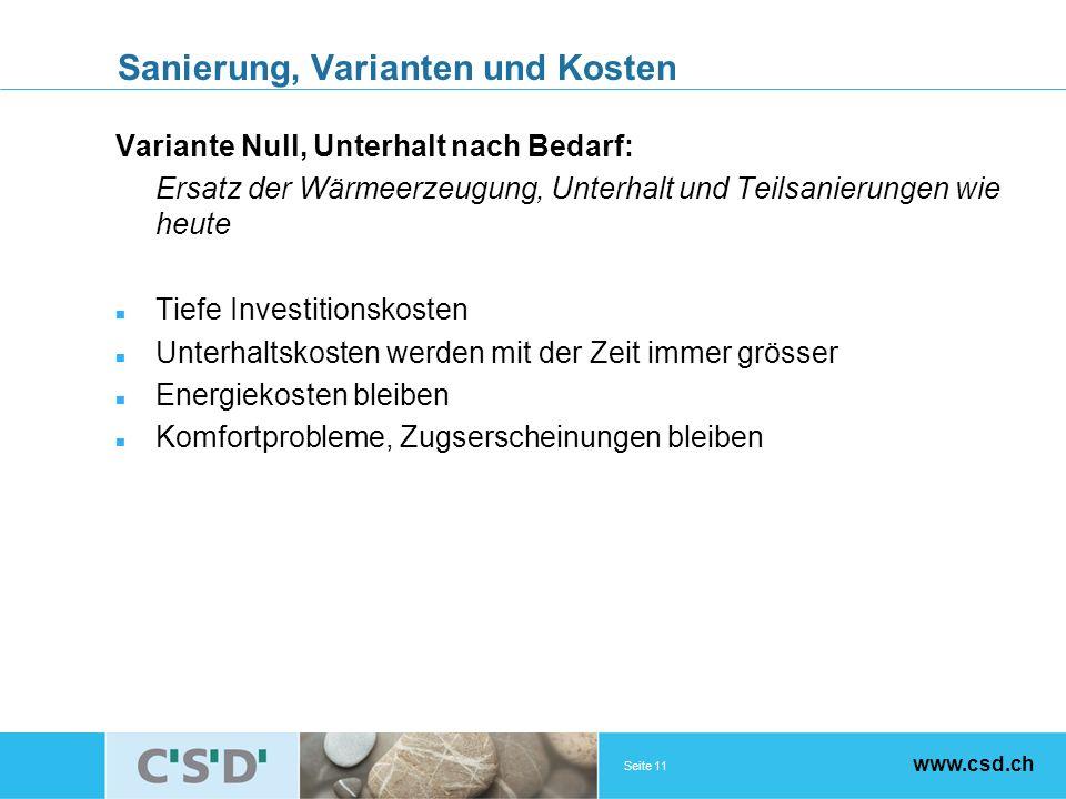 Seite 11 www.csd.ch Sanierung, Varianten und Kosten Variante Null, Unterhalt nach Bedarf: Ersatz der Wärmeerzeugung, Unterhalt und Teilsanierungen wie