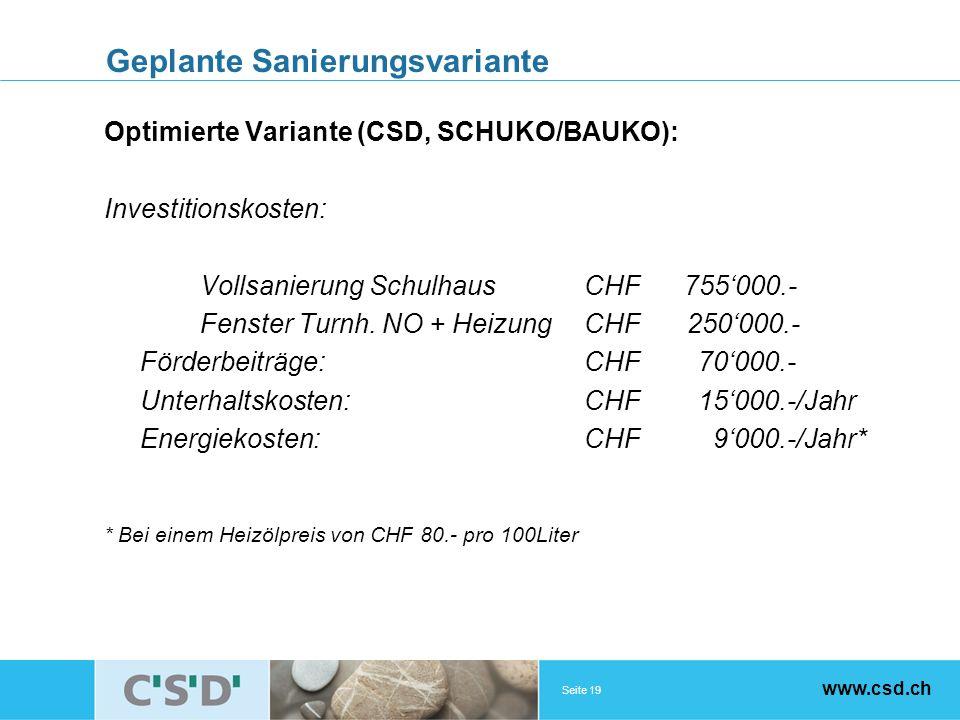 Seite 19 www.csd.ch Geplante Sanierungsvariante Optimierte Variante (CSD, SCHUKO/BAUKO): Investitionskosten: Vollsanierung SchulhausCHF 755000.- Fenster Turnh.