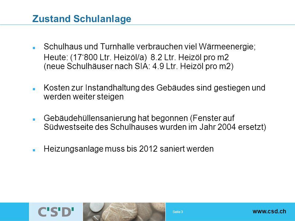 Seite 3 www.csd.ch Zustand Schulanlage Schulhaus und Turnhalle verbrauchen viel Wärmeenergie; Heute: (17800 Ltr.
