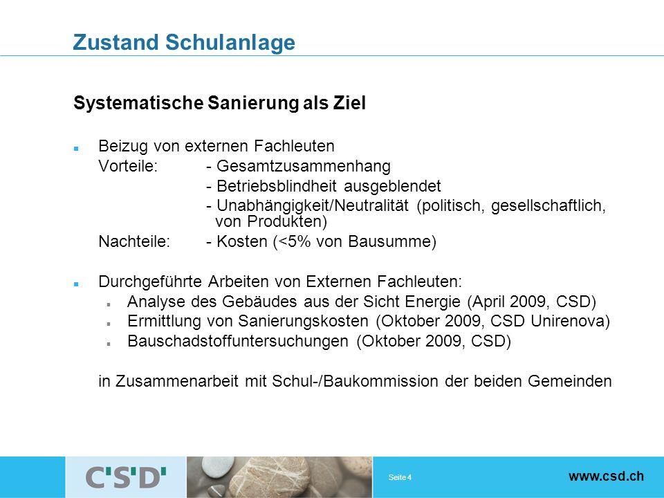 Seite 4 www.csd.ch Zustand Schulanlage Systematische Sanierung als Ziel Beizug von externen Fachleuten Vorteile:- Gesamtzusammenhang - Betriebsblindheit ausgeblendet - Unabhängigkeit/Neutralität (politisch, gesellschaftlich, von Produkten) Nachteile:- Kosten (<5% von Bausumme) Durchgeführte Arbeiten von Externen Fachleuten: Analyse des Gebäudes aus der Sicht Energie (April 2009, CSD) Ermittlung von Sanierungskosten (Oktober 2009, CSD Unirenova) Bauschadstoffuntersuchungen (Oktober 2009, CSD) in Zusammenarbeit mit Schul-/Baukommission der beiden Gemeinden