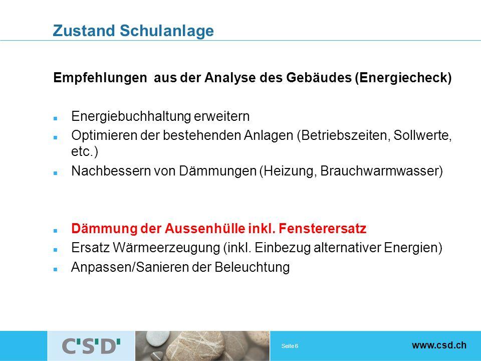 Seite 6 www.csd.ch Zustand Schulanlage Empfehlungen aus der Analyse des Gebäudes (Energiecheck) Energiebuchhaltung erweitern Optimieren der bestehende