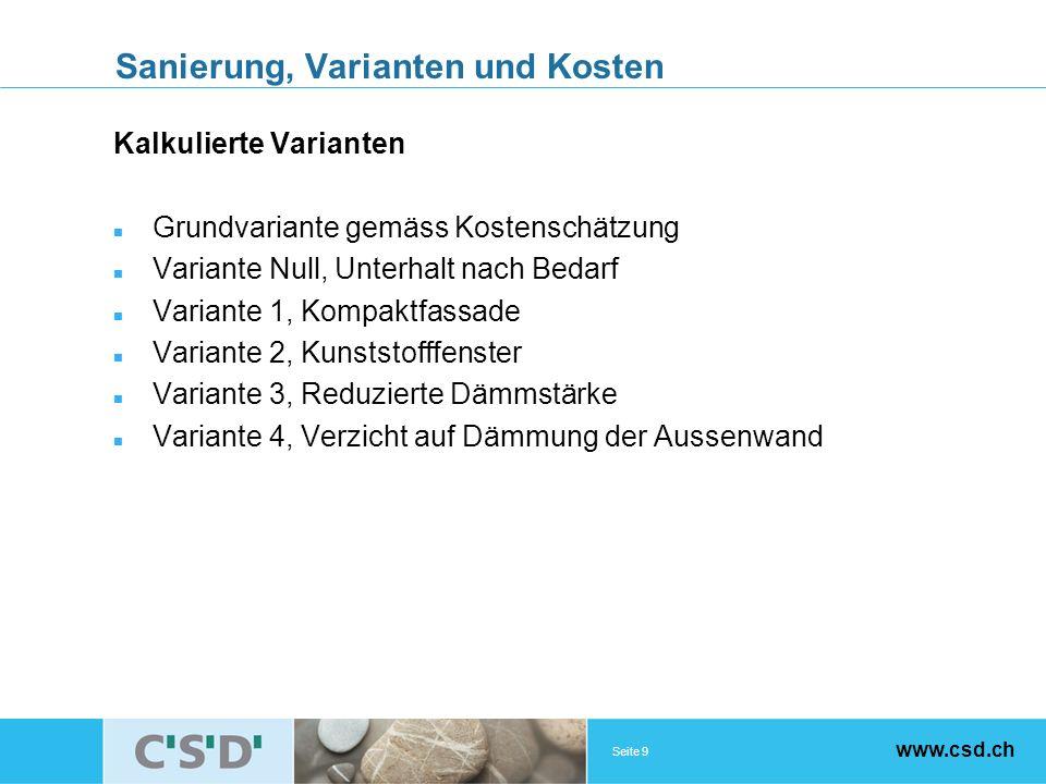 Seite 9 www.csd.ch Sanierung, Varianten und Kosten Kalkulierte Varianten Grundvariante gemäss Kostenschätzung Variante Null, Unterhalt nach Bedarf Var