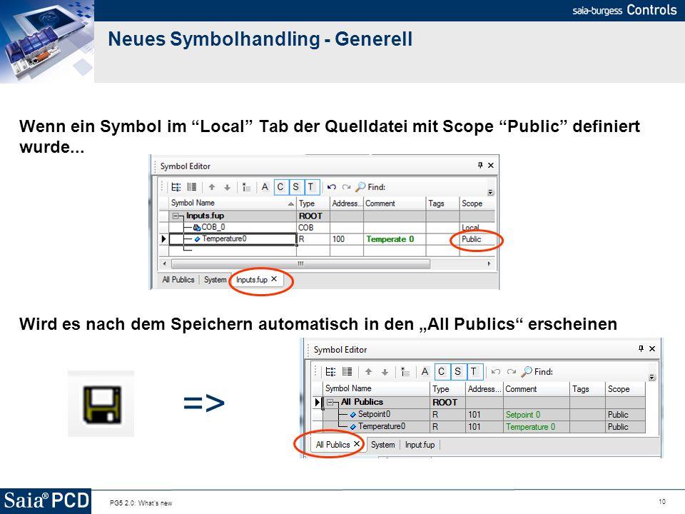 10 PG5 2.0: What's new Neues Symbolhandling - Generell Wenn ein Symbol im Local Tab der Quelldatei mit Scope Public definiert wurde... Wird es nach de