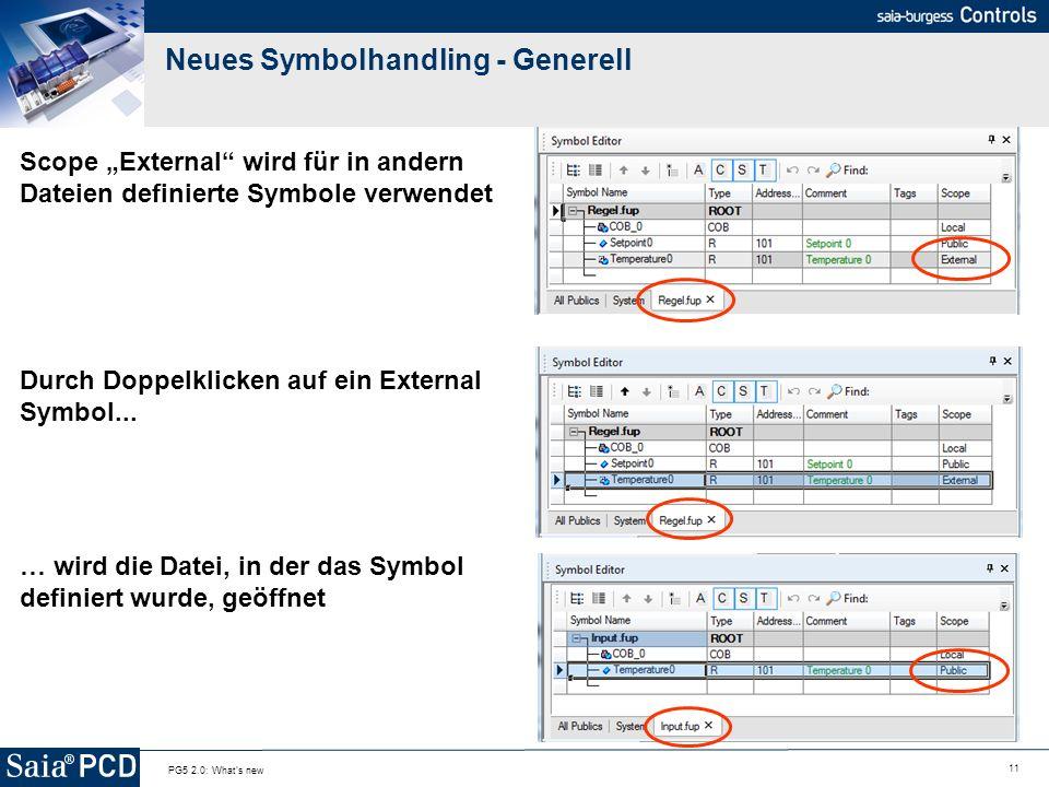 11 PG5 2.0: What's new Neues Symbolhandling - Generell Scope External wird für in andern Dateien definierte Symbole verwendet Durch Doppelklicken auf