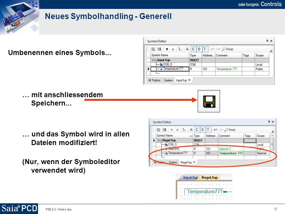 12 PG5 2.0: What's new Neues Symbolhandling - Generell Umbenennen eines Symbols... … mit anschliessendem Speichern... … und das Symbol wird in allen D