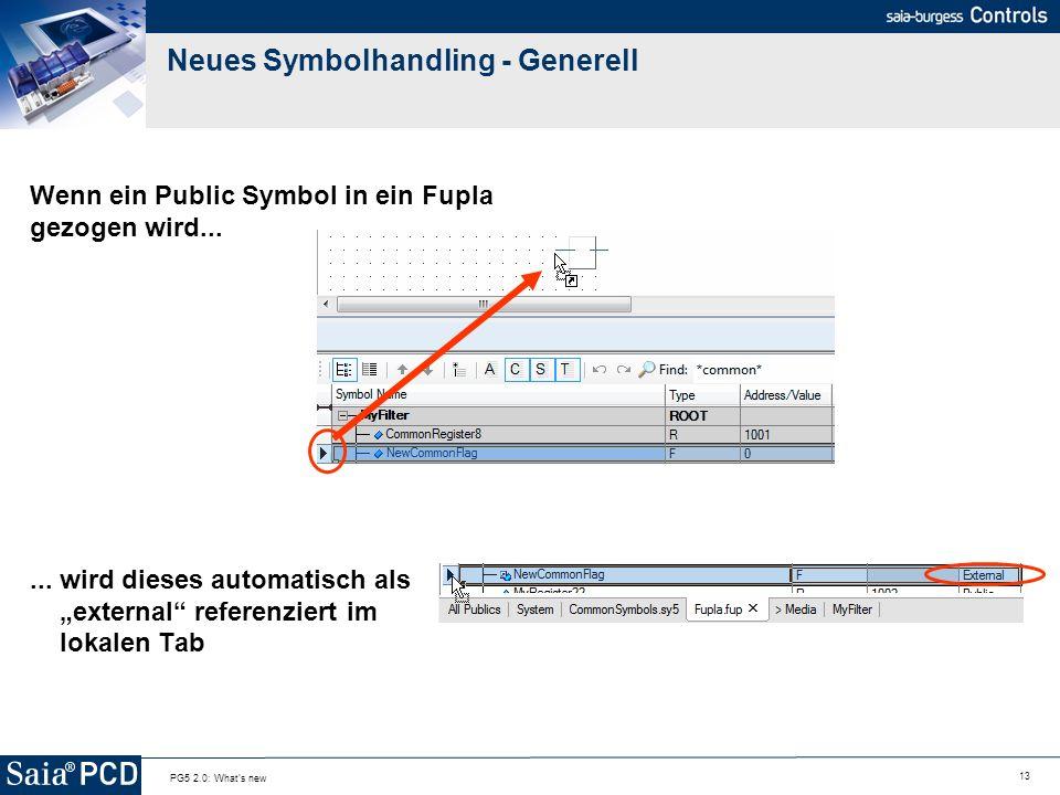 13 PG5 2.0: What's new Neues Symbolhandling - Generell Wenn ein Public Symbol in ein Fupla gezogen wird...... wird dieses automatisch als external ref
