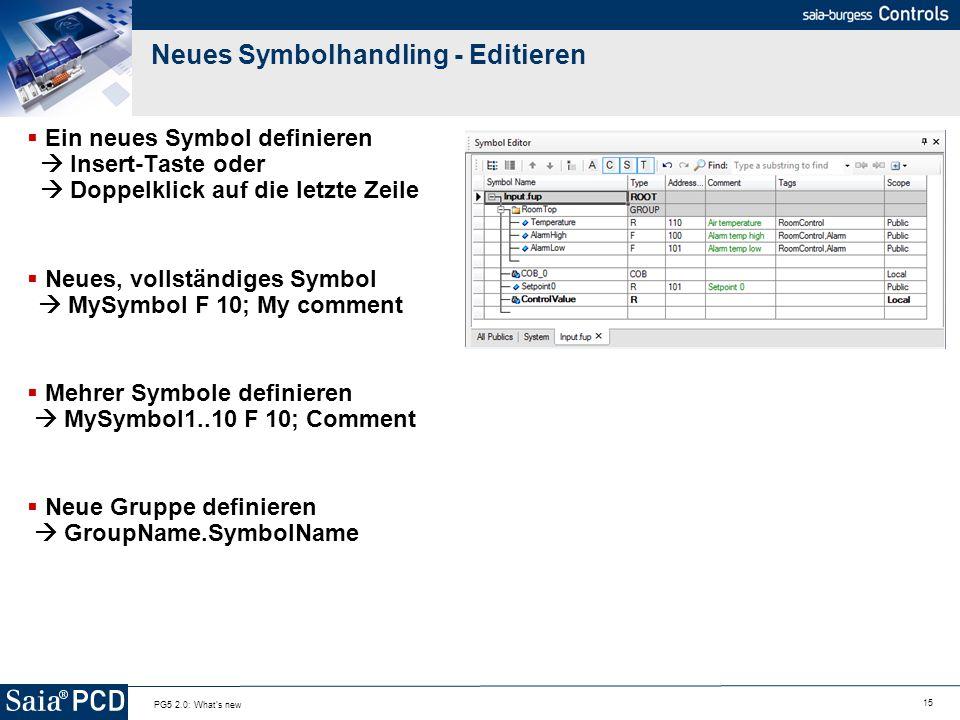 15 PG5 2.0: What's new Neues Symbolhandling - Editieren Ein neues Symbol definieren Insert-Taste oder Doppelklick auf die letzte Zeile Neues, vollstän