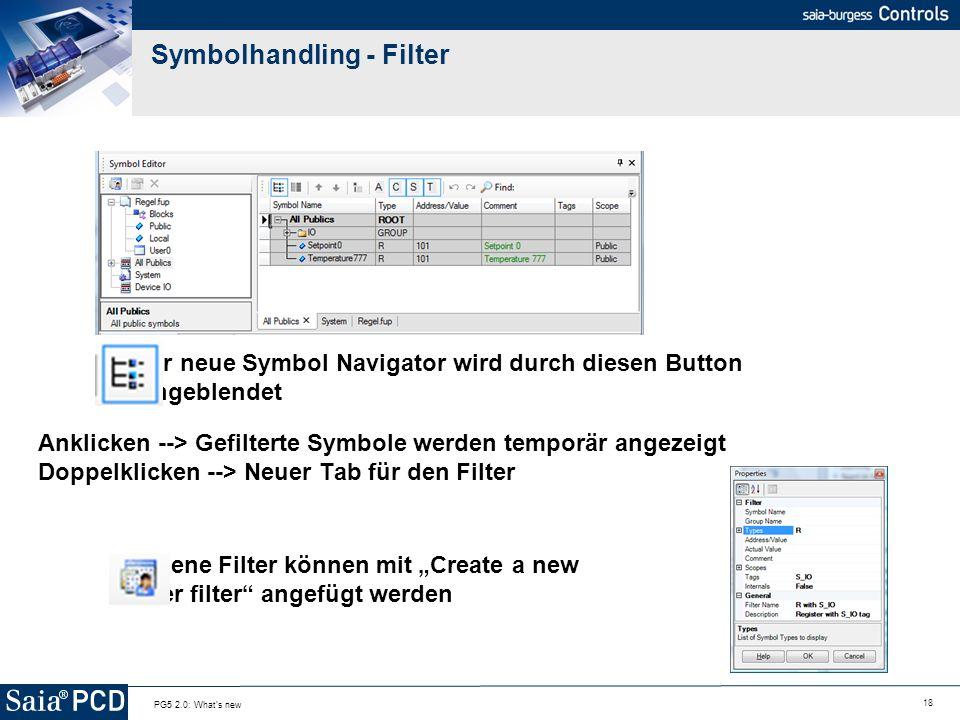 18 PG5 2.0: What's new Symbolhandling - Filter Der neue Symbol Navigator wird durch diesen Button eingeblendet Anklicken --> Gefilterte Symbole werden