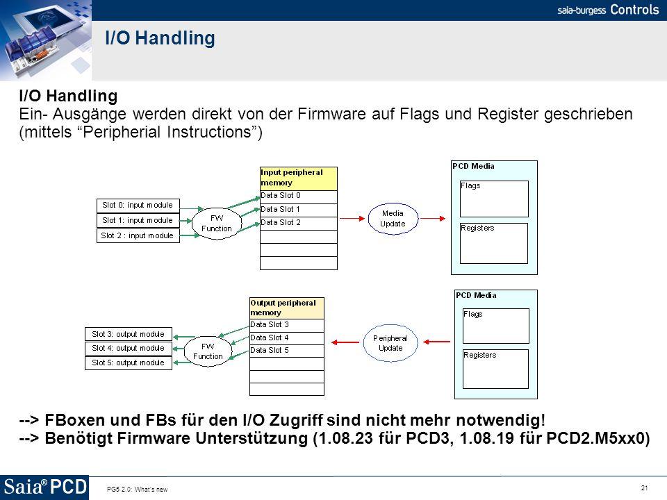21 PG5 2.0: What's new I/O Handling I/O Handling Ein- Ausgänge werden direkt von der Firmware auf Flags und Register geschrieben (mittels Peripherial