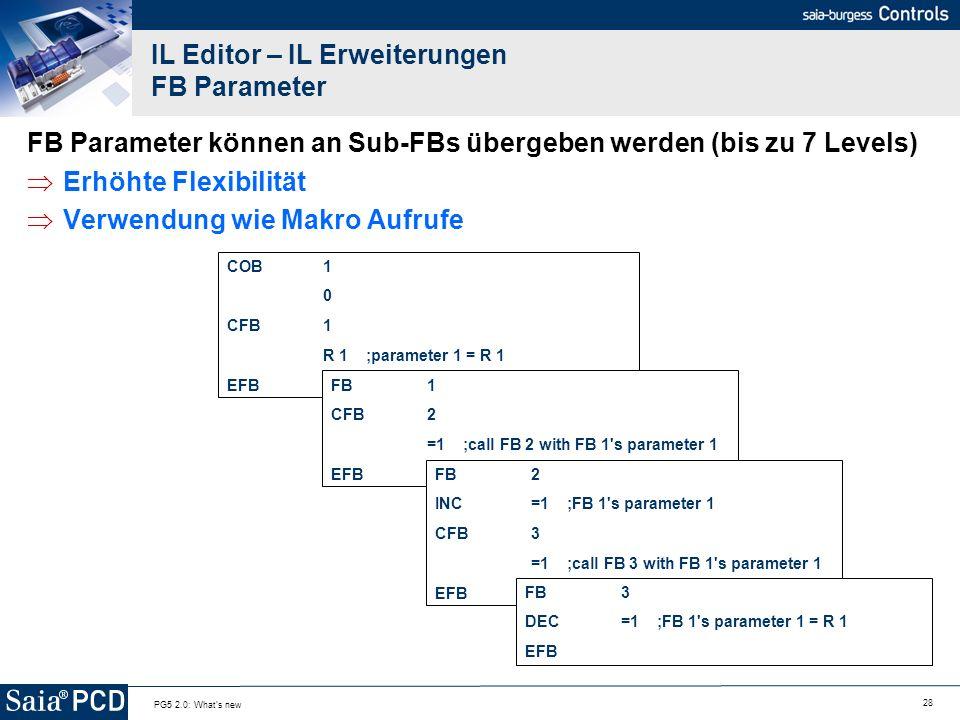 28 PG5 2.0: What's new IL Editor – IL Erweiterungen FB Parameter FB Parameter können an Sub-FBs übergeben werden (bis zu 7 Levels) Erhöhte Flexibilitä