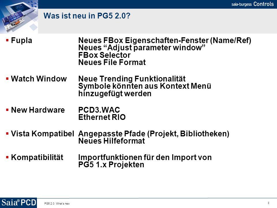 34 PG5 2.0: What s new Windows Vista Support Neue Standardpfade für Projekt und Biblotheken Vista Standard / Regeln werden angewandt: Die Hilfe Dateien liegen in einem neuen Format vor (der FBox Builder generiert diese Automatisch für Ihre eigenen Bibliotheken)