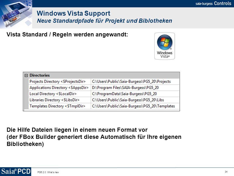 34 PG5 2.0: What's new Windows Vista Support Neue Standardpfade für Projekt und Biblotheken Vista Standard / Regeln werden angewandt: Die Hilfe Dateie