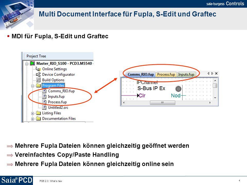 5 PG5 2.0: What s new Desktop Docking Desktop docking Project Manager und Editoren teilen sich den Bildschirm (Framework behavior ) Doppelklicken auf den Titel Bar => Editor wird auf Full Screen expandiert Erneutes Doppelklicken auf den Titel Bar => Zurück zu Desktop Docking Falls unterwünscht kann das Desktop Docking unter Tools, Option deaktiviert werden