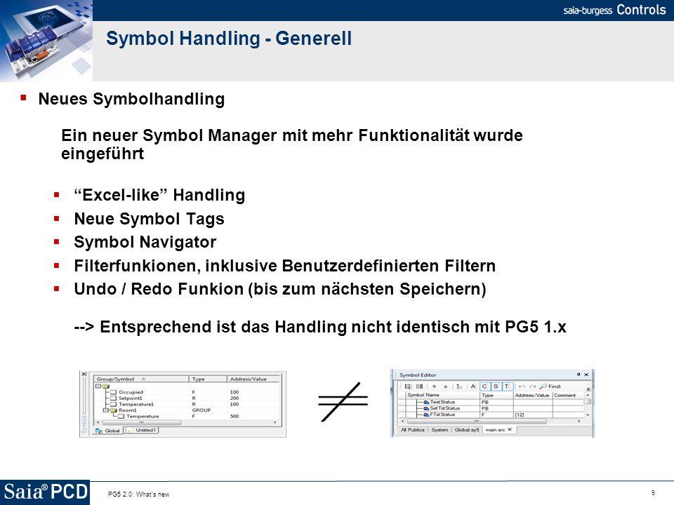 9 PG5 2.0: What's new Symbol Handling - Generell Neues Symbolhandling Ein neuer Symbol Manager mit mehr Funktionalität wurde eingeführt Excel-like Han