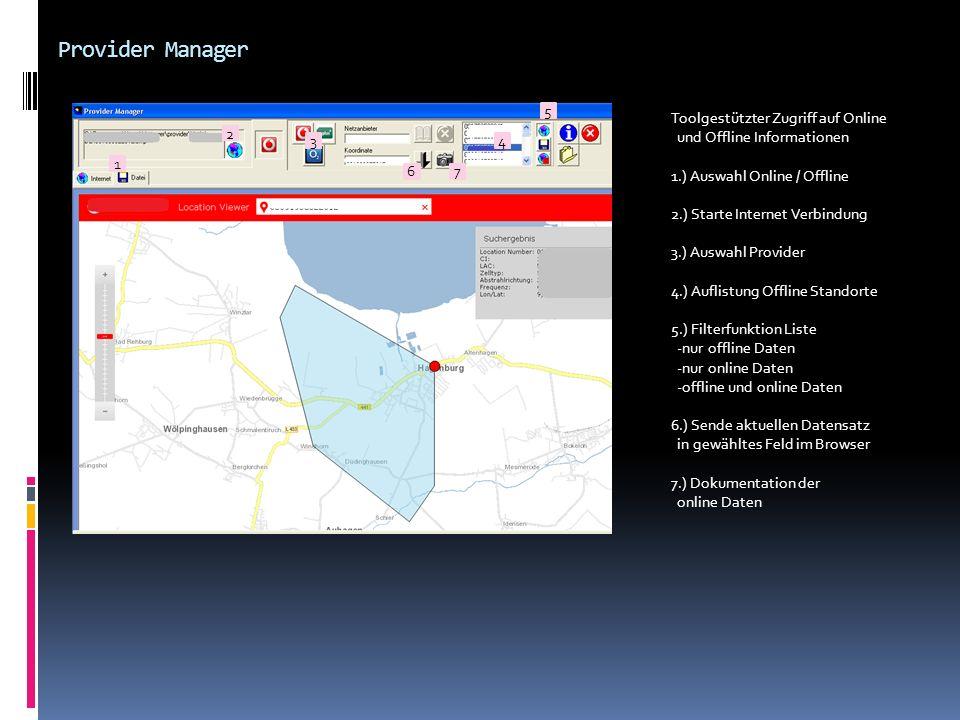 Provider Manager Toolgestützter Zugriff auf Online und Offline Informationen 1.) Auswahl Online / Offline 2.) Starte Internet Verbindung 3.) Auswahl P