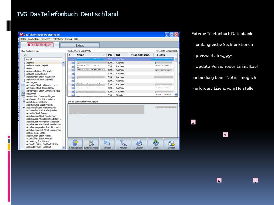 TVG DasTelefonbuch Deutschland Externe Telefonbuch Datenbank - umfangreiche Suchfunktionen - preiswert ab 14,95 - Update-Version oder Einmalkauf Einbi