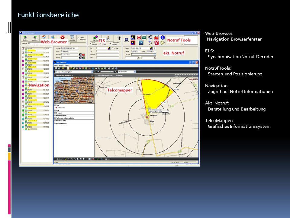 Funktionsbereiche Web-Browser: Navigation Browserfenster ELS: Synchronisation Notruf-Decoder Notruf Tools: Starten und Positionierung Navigation: Zugr