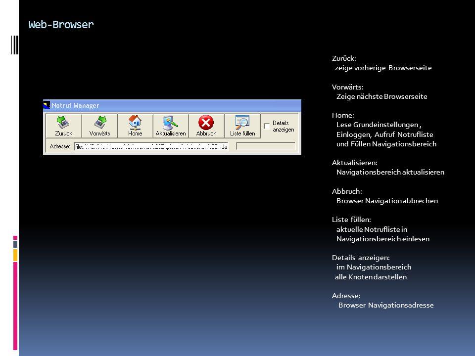 Web-Browser Zurück: zeige vorherige Browserseite Vorwärts: Zeige nächste Browserseite Home: Lese Grundeinstellungen, Einloggen, Aufruf Notrufliste und