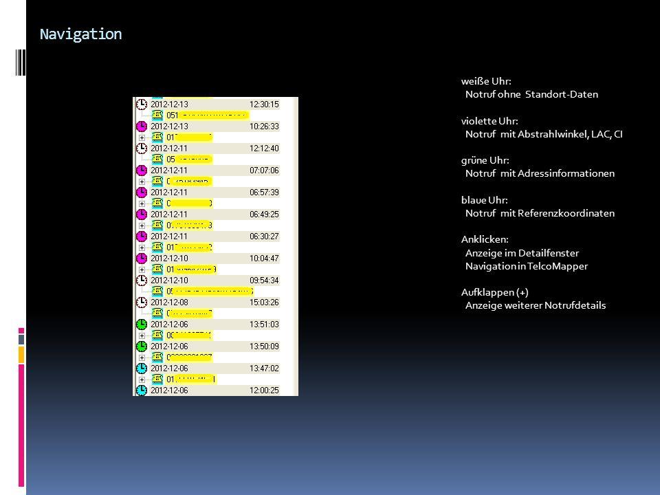 Navigation weiße Uhr: Notruf ohne Standort-Daten violette Uhr: Notruf mit Abstrahlwinkel, LAC, CI grüne Uhr: Notruf mit Adressinformationen blaue Uhr: