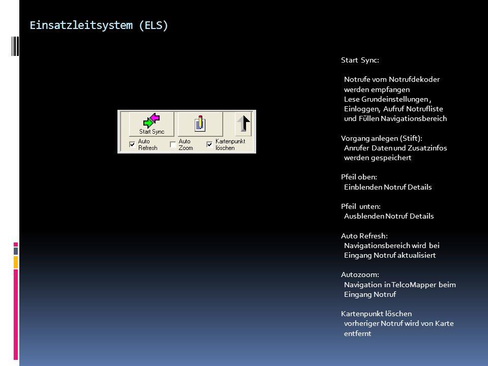Einsatzleitsystem (ELS) Start Sync: Notrufe vom Notrufdekoder werden empfangen Lese Grundeinstellungen, Einloggen, Aufruf Notrufliste und Füllen Navig