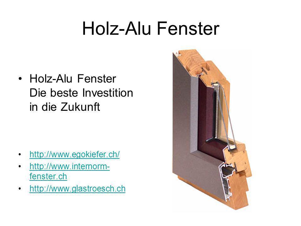 Holz-Alu Fenster Holz-Alu Fenster Die beste Investition in die Zukunft http://www.egokiefer.ch/ http://www.internorm- fenster.chhttp://www.internorm- fenster.ch http://www.glastroesch.ch