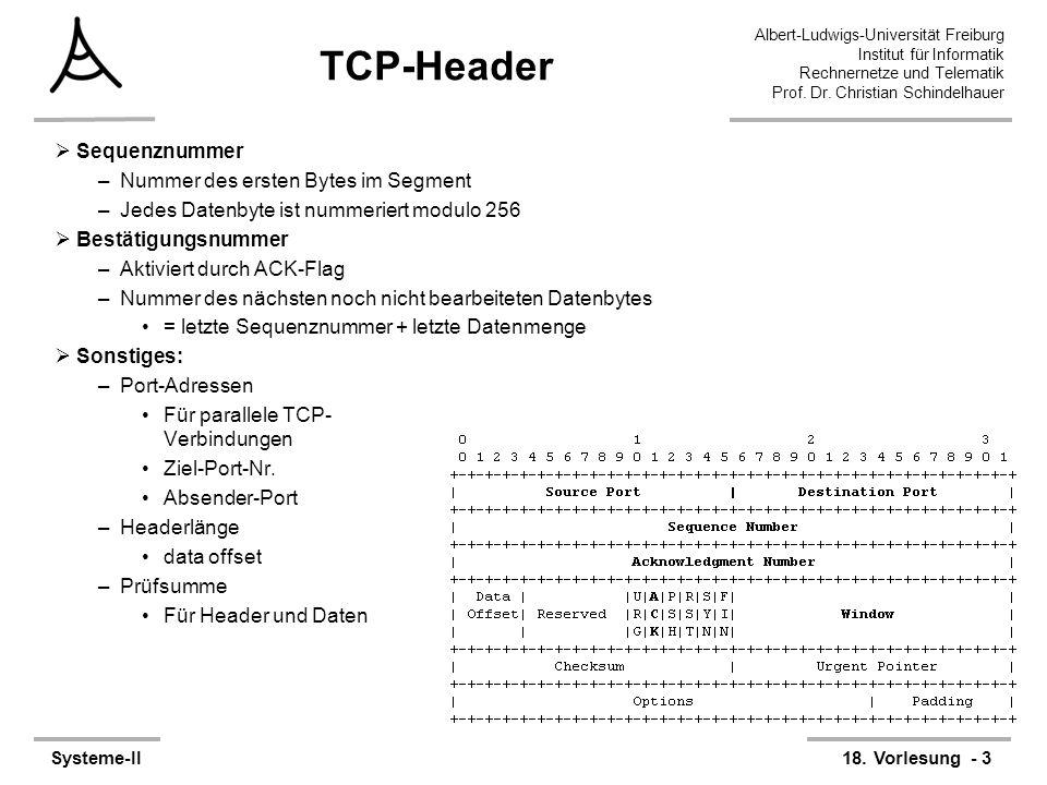 Albert-Ludwigs-Universität Freiburg Institut für Informatik Rechnernetze und Telematik Prof. Dr. Christian Schindelhauer Systeme-II18. Vorlesung - 3 T