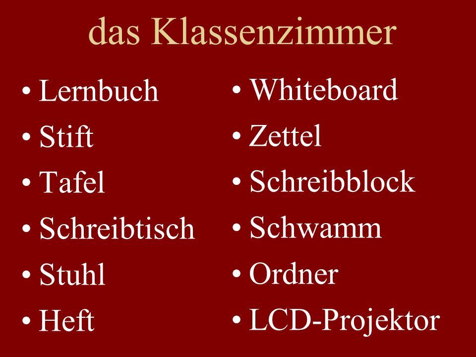 das Klassenzimmer Lernbuch Stift Tafel Schreibtisch Stuhl Heft Whiteboard Zettel Schreibblock Schwamm Ordner LCD-Projektor