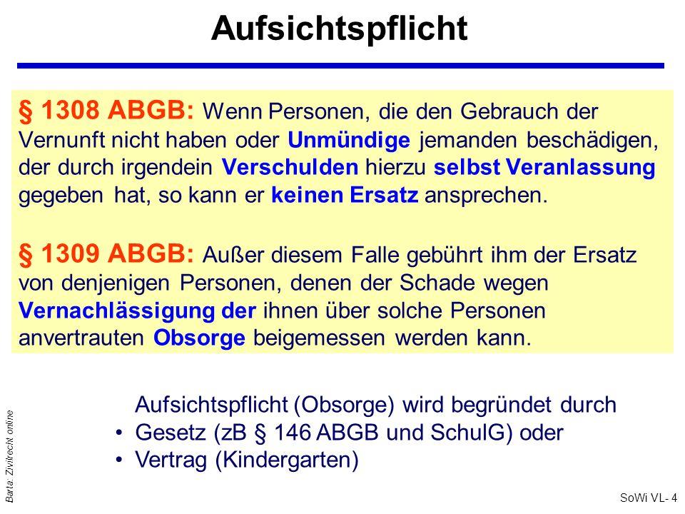SoWi VL- 5 Barta: Zivilrecht online Soziale Schadenstragung: § 1310 ABGB Erlangt ein Beschädigter nach den §§ 1308, 1309 ABGB keinen Ersatz, so qsoll der Richter nach § 1310 ABGB erwägen, ob er nicht doch auf den ganzen Ersatz, oder einen billigen [!] Teil desselben erkennen kann, weil: (1)dennoch ein Verschulden [des Beschädigers] zur Last liege; (2)oder der Beschädigte aus Schonung des Beschädigers die Verteidigung unterlassen habe; (3)oder endlich mit Rücksicht auf das Vermögen des Beschädigers und des Beschädigten; sozialer Vermögensvergleich / Ersatz nach Billigkeit