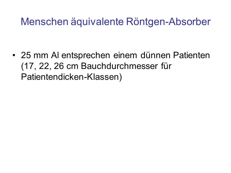 Menschen äquivalente Röntgen-Absorber 25 mm Al entsprechen einem dünnen Patienten (17, 22, 26 cm Bauchdurchmesser für Patientendicken-Klassen)