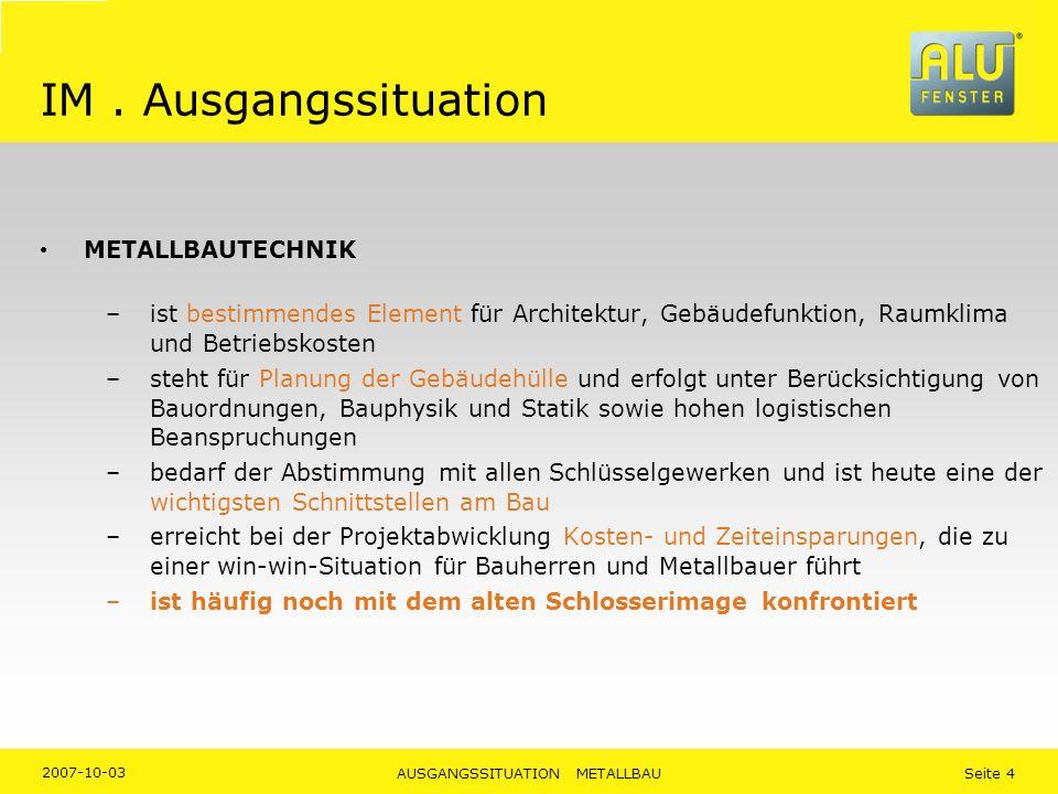 2007-10-03 AUSGANGSSITUATION METALLBAU Seite 4 IM. Ausgangssituation METALLBAUTECHNIK –ist bestimmendes Element für Architektur, Gebäudefunktion, Raum