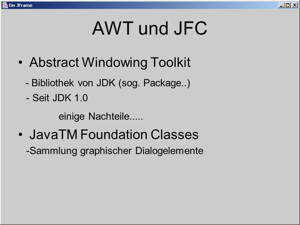Swing Erweiterung von AWT Eigenschaften - GUI-Elemente werden selbst erzeugt Im JDK1.1 eingeführt Leichtgewichtige Komponenten und Schwergewichtige Komponenten im AWT z.B: Swing-Button unter Windows....