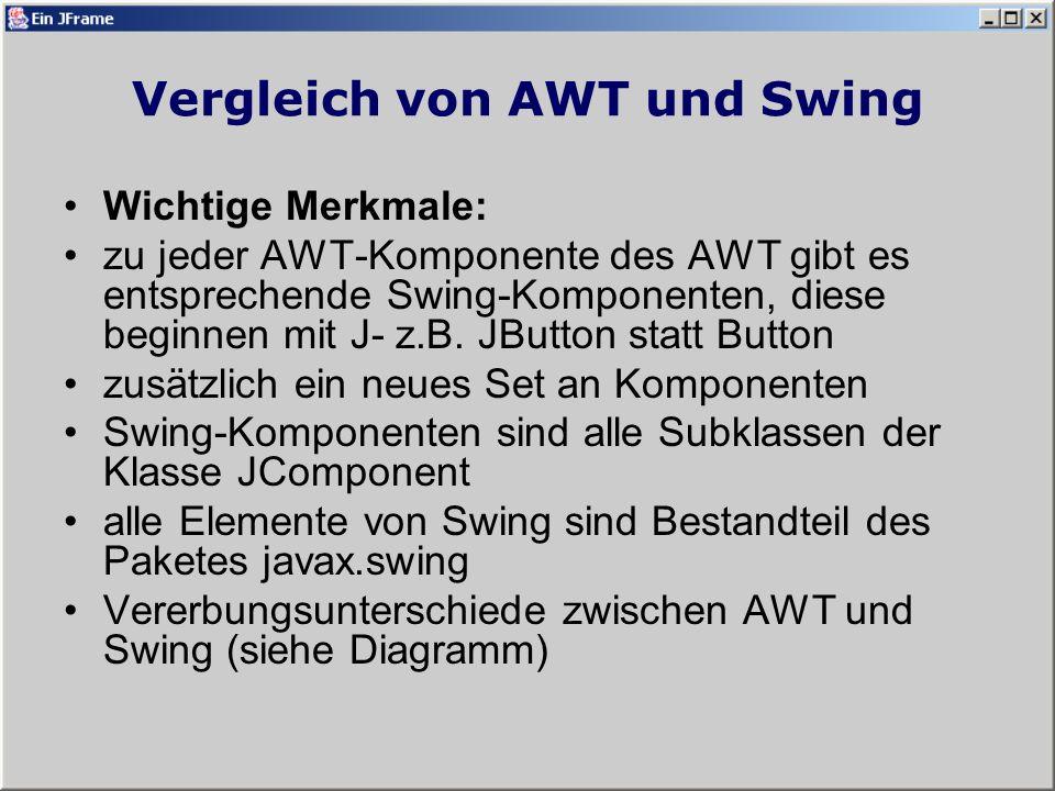 Vergleich von AWT und Swing Wichtige Merkmale: zu jeder AWT-Komponente des AWT gibt es entsprechende Swing-Komponenten, diese beginnen mit J- z.B.