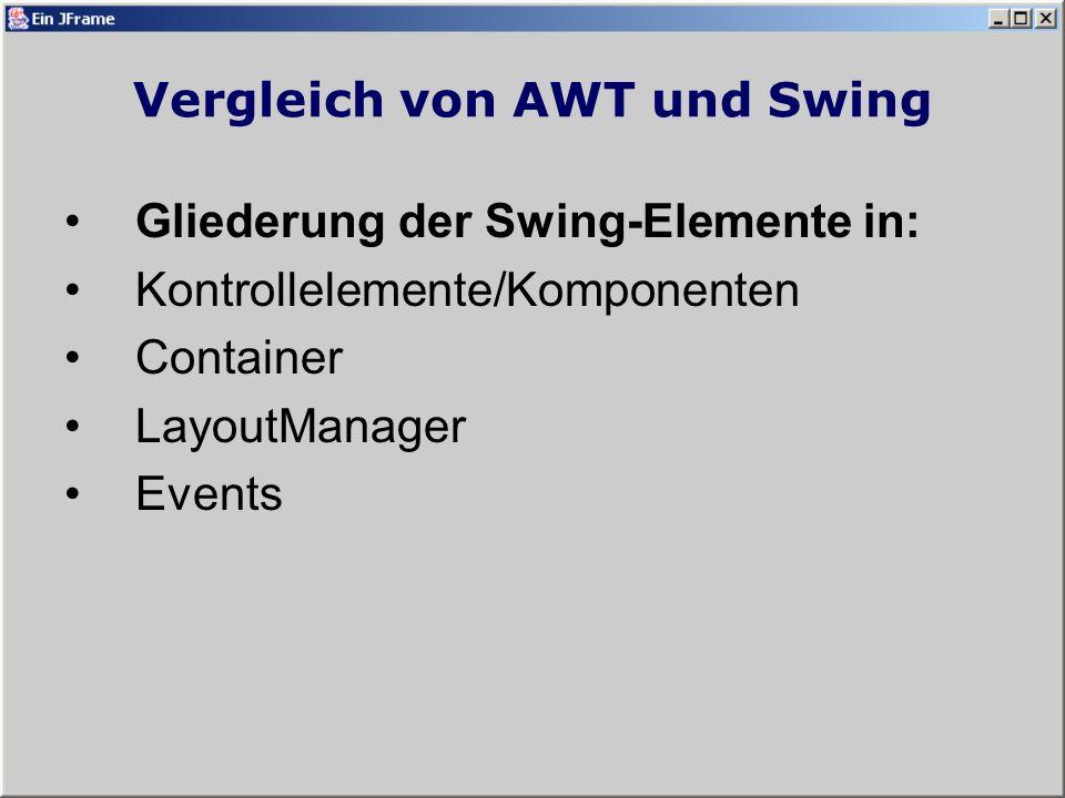 Vergleich von AWT und Swing AWT