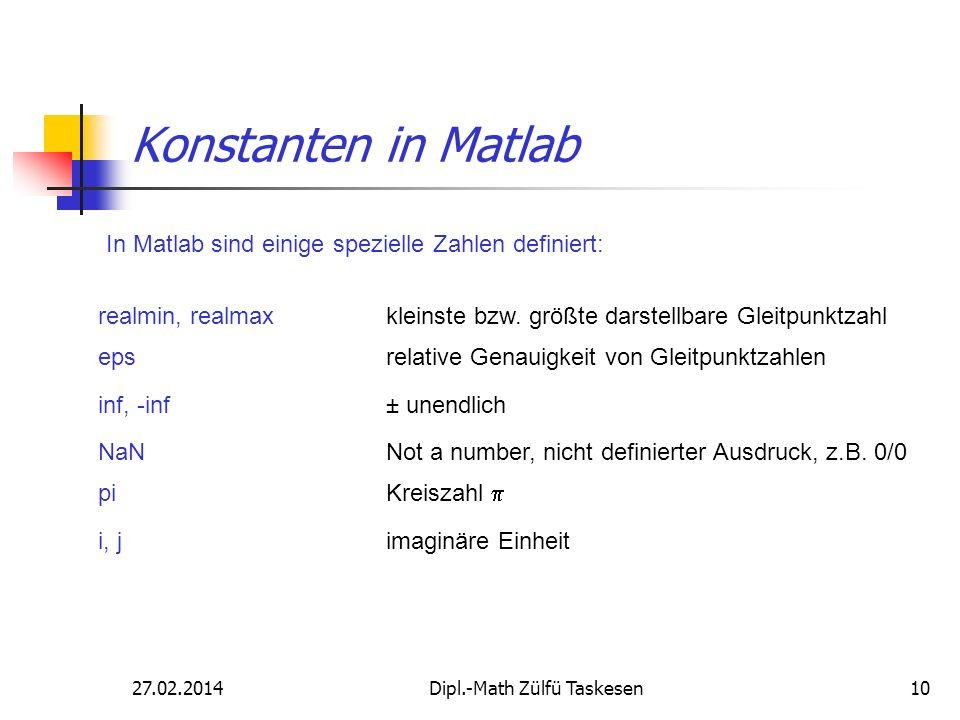 27.02.2014Dipl.-Math Zülfü Taskesen10 Konstanten in Matlab In Matlab sind einige spezielle Zahlen definiert: realmin, realmax kleinste bzw. größte dar