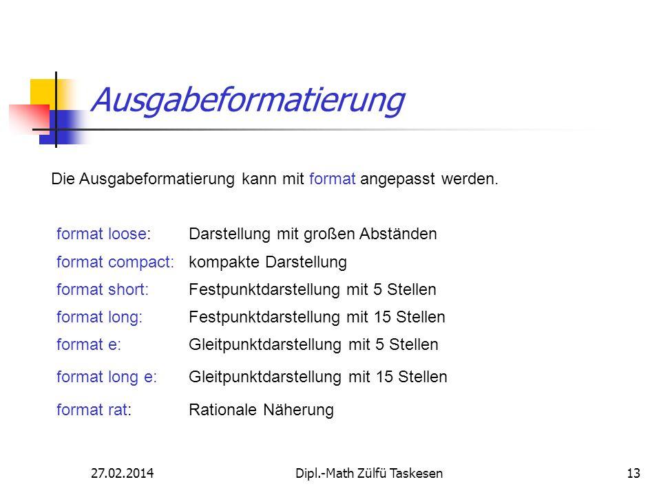 27.02.2014Dipl.-Math Zülfü Taskesen13 Ausgabeformatierung Die Ausgabeformatierung kann mit format angepasst werden. format loose: Darstellung mit groß