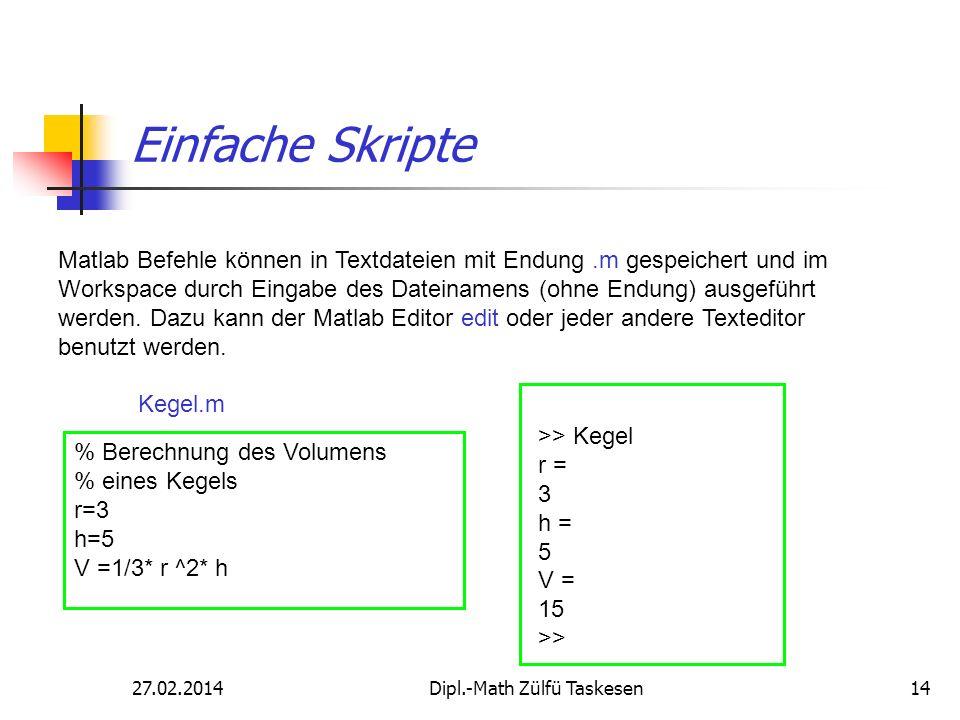 27.02.2014Dipl.-Math Zülfü Taskesen14 Einfache Skripte Matlab Befehle können in Textdateien mit Endung.m gespeichert und im Workspace durch Eingabe de