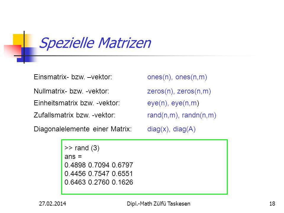 27.02.2014Dipl.-Math Zülfü Taskesen18 Spezielle Matrizen Einsmatrix- bzw. –vektor:ones(n), ones(n,m) Nullmatrix- bzw. -vektor:zeros(n), zeros(n,m) Ein