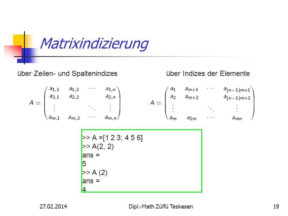 27.02.2014Dipl.-Math Zülfü Taskesen19 Matrixindizierung über Zeilen- und Spaltenindizesüber Indizes der Elemente >> A =[1 2 3; 4 5 6] >> A(2, 2) ans =