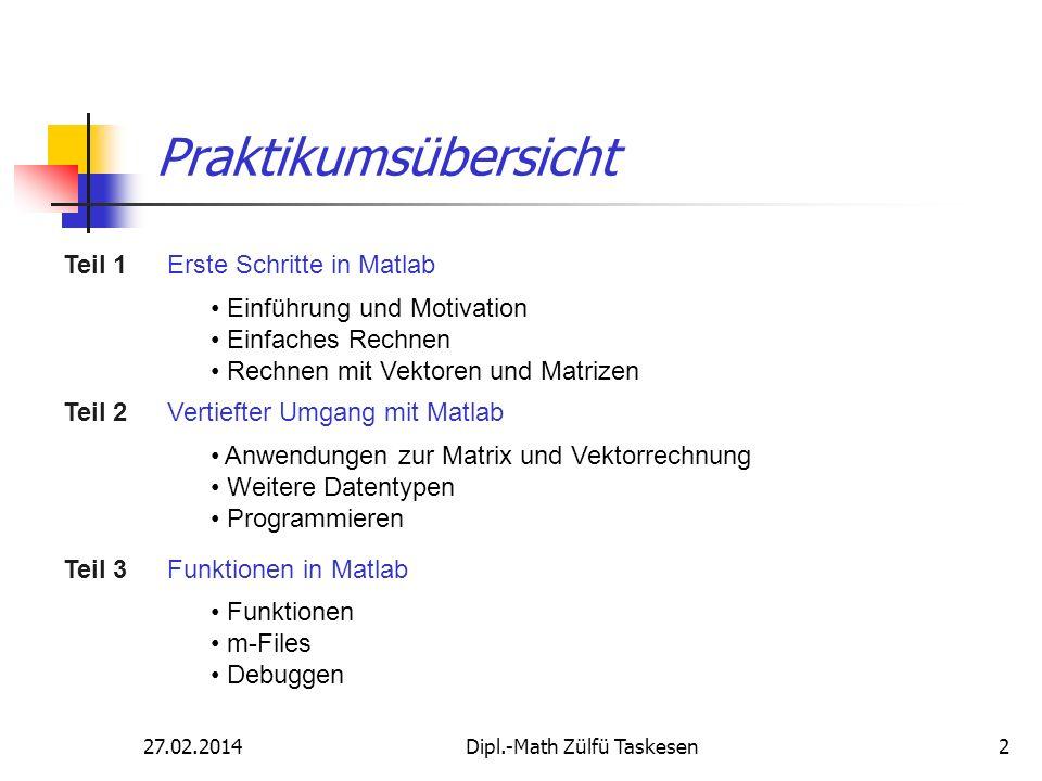 27.02.2014Dipl.-Math Zülfü Taskesen13 Ausgabeformatierung Die Ausgabeformatierung kann mit format angepasst werden.