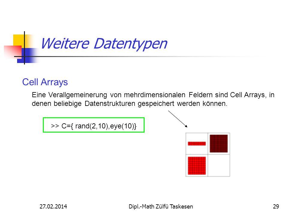 27.02.2014Dipl.-Math Zülfü Taskesen29 Eine Verallgemeinerung von mehrdimensionalen Feldern sind Cell Arrays, in denen beliebige Datenstrukturen gespei