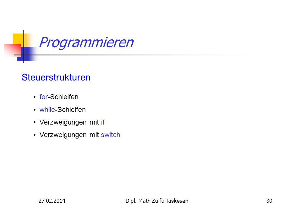 27.02.2014Dipl.-Math Zülfü Taskesen30 Programmieren Steuerstrukturen for-Schleifen while-Schleifen Verzweigungen mit if Verzweigungen mit switch