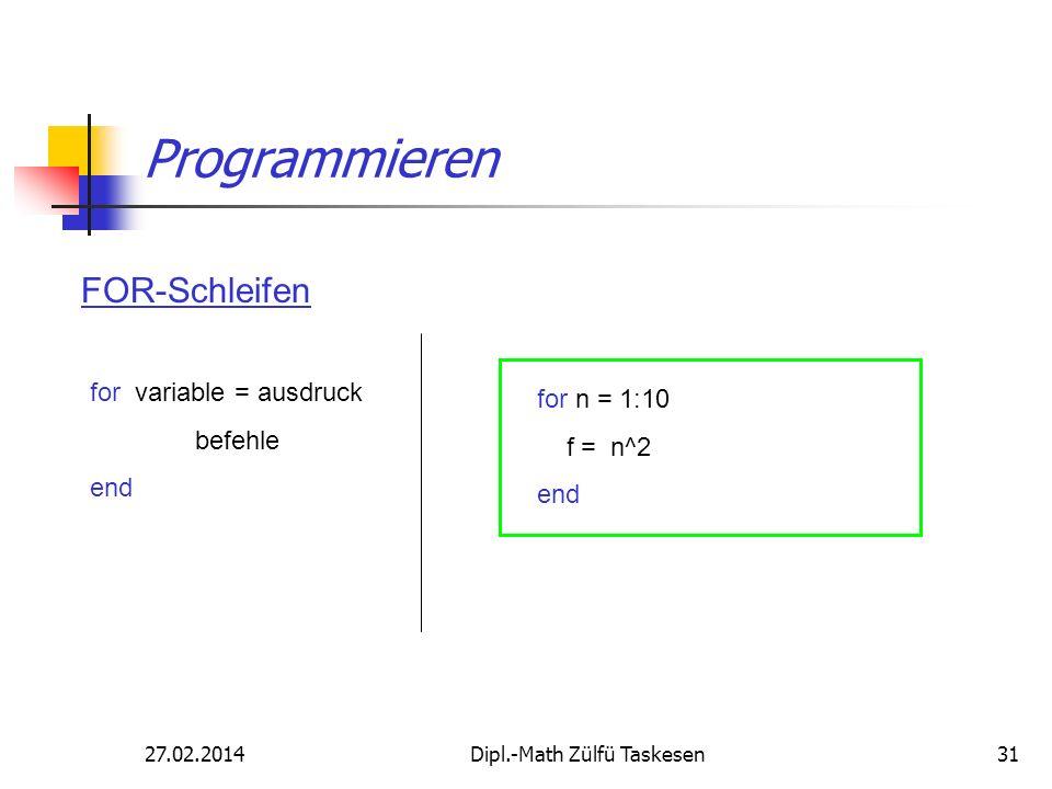 27.02.2014Dipl.-Math Zülfü Taskesen31 Programmieren FOR-Schleifen for variable = ausdruck befehle end for n = 1:10 f = n^2 end