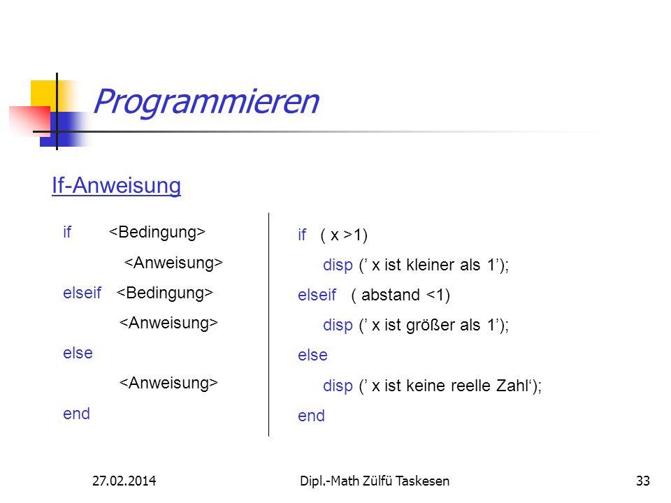 27.02.2014Dipl.-Math Zülfü Taskesen33 Programmieren If-Anweisung if elseif else end if ( x >1) disp ( x ist kleiner als 1); elseif ( abstand <1) disp