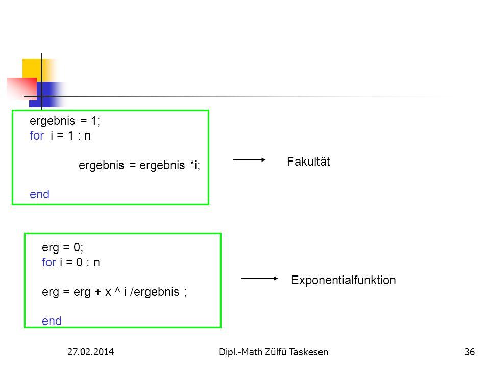 27.02.2014Dipl.-Math Zülfü Taskesen36 ergebnis = 1; for i = 1 : n ergebnis = ergebnis *i; end Fakultät erg = 0; for i = 0 : n erg = erg + x ^ i /ergeb