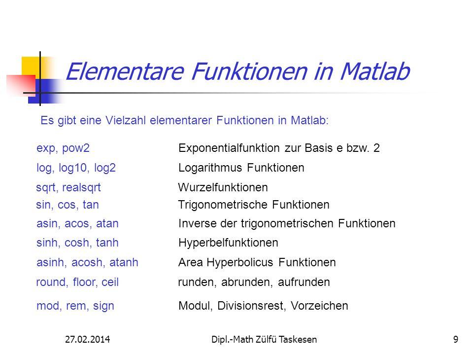 27.02.2014Dipl.-Math Zülfü Taskesen9 Elementare Funktionen in Matlab Es gibt eine Vielzahl elementarer Funktionen in Matlab: exp, pow2 Exponentialfunk