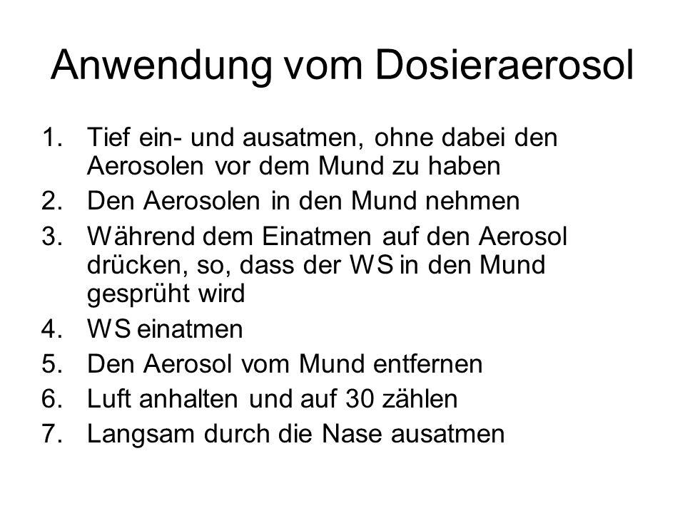 Anwendung vom Dosieraerosol 1.Tief ein- und ausatmen, ohne dabei den Aerosolen vor dem Mund zu haben 2.Den Aerosolen in den Mund nehmen 3.Während dem