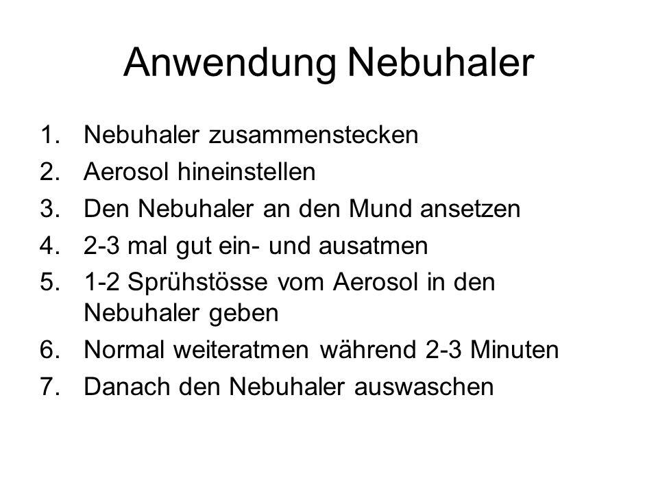 Anwendung Nebuhaler 1.Nebuhaler zusammenstecken 2.Aerosol hineinstellen 3.Den Nebuhaler an den Mund ansetzen 4.2-3 mal gut ein- und ausatmen 5.1-2 Spr