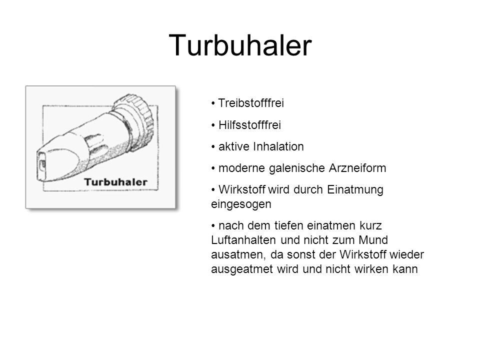 Turbuhaler Treibstofffrei Hilfsstofffrei aktive Inhalation moderne galenische Arzneiform Wirkstoff wird durch Einatmung eingesogen nach dem tiefen ein